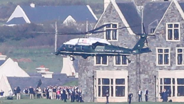 US President Donald Trump and First Lady Malania Trump arrive in Marine One at Doonbeg, County Clare, on the first day of their visit to the Republic of Ireland. PRESS ASSOCIATION Photo. Picture date: Wednesday June 5, 2019. See PA story IRISH Trump. Photo credit should read: Niall Carson/PA Wire