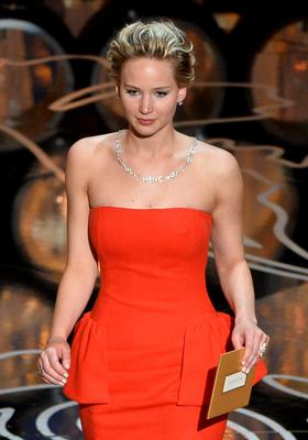Actress Jennifer Lawrence speaks onstage during the Oscars at the Dolby Theatre on March 2, 2014 in Hollywood, California.  (Photo by Kevin Winter/Getty Images)