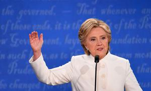 Democratic nominee Hillary Clinton speaks during the final presidential debate at the Thomas & Mack Center on the campus of the University of Las Vegas in Las Vegas, Nevada on October 19, 2016. / AFP PHOTO / Robyn BeckROBYN BECK/AFP/Getty Images