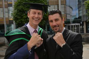 HARRISON PHOTOGRAPHY - BELFAST - 1st July 2016 Graduating from Ulster University today with a Bachelor of Science is Ian Bothwell with brother in law Wayne McCullough