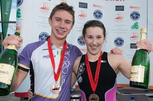 Triathlete Harry Speers, from Bangor, with Siobhan Gallagher