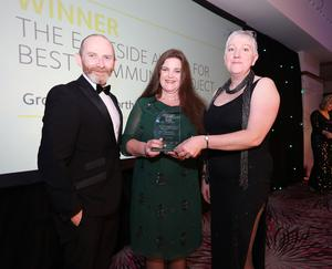 Eastside Awards Winners 2019   CAPTIONS  Best Community Project Heather Boyd and Lisa Rolston of Groundwork NI receives Eastside Award for Best Community Project from Stephen McGowan of sponsor the Urban Villages Initiative