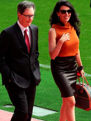 Linda Pizzuti with her husband Liverpool owner John W Henry during the opening of the Anfield Main Stand, Liverpool. PA