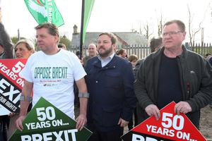 Press Eye - Belfast - Northern Ireland - 30th March 2019 -  Photo by Lorcan Doherty / Press Eye Border Communities Against Brexit protest at the border crossing between Derry and Donegal at Bridgend.  Donegal Councillor Padraig MacLochlainn.