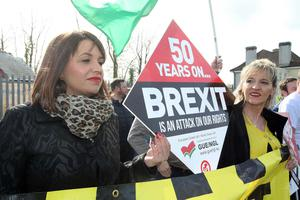 Press Eye - Belfast - Northern Ireland - 30th March 2019 -  Photo by Lorcan Doherty / Press Eye Border Communities Against Brexit protest at the border crossing between Derry and Donegal at Bridgend.  Elisha McCallion, Foyle MP, and MEP Martina Anderson.