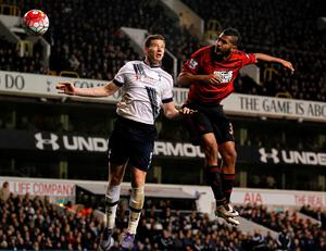 Tottenham Hotspur's Belgian defender Jan Vertonghen (L) vies for the ball against West Bromwich Albion's Venezuelan striker Salomon Rondon during the English Premier League football match between Tottenham Hotspur and West Bromwich Albion at White Hart Lane in London, on April 25, 2016. / AFP PHOTO / IKIMAGES / IKimages / RESTRICTED TO EDITORIAL USE. No use with unauthorized audio, video, data, fixture lists, club/league logos or 'live' services. Online in-match use limited to 45 images, no video emulation. No use in betting, games or single club/league/player publications.IKIMAGES/AFP/Getty Images