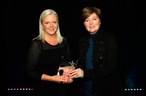 Prof Gillian Armstrong, Ulster University Business School, with Dr Liz O'Sullivan from Allstate, winner in the IT Woman of the Year category