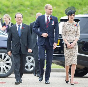 (left to right) French President Francois Hollande and the Duke and Duchess of Cambridge arrive to open the new Thiepval Memorial to the Missing Visitors Centre in Thiepval, France. PRESS ASSOCIATION Photo. Picture date: Friday July 1, 2016. See PA story HERITAGE Somme Royals. Photo credit should read: Ian Jones/PA Wire