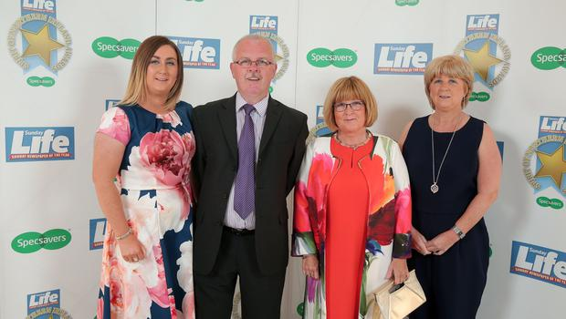 Press Eye - Belfast - Northern Ireland - 16th June 2017 -   Nicola Friel, Paul O'Hare, Deirdre Corrigan and Bernadette Friel pictured at the Sunday Life Spirit of Northern Ireland Awards with Specsavers at the Culloden Hotel. Photo by Kelvin Boyes / Press Eye.