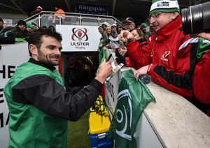 Ireland Rugby Open Training Session, Kingspan Stadium, Belfast 5/3/2015 Jared Payne signs autographs for fans Mandatory Credit ?INPHO/Presseye/Russell Pritchard