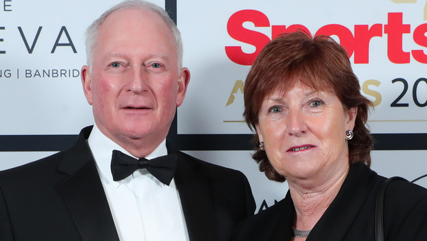 Former Royal Portrush secretary Wilma Erskine, pictured with Ross Hegarty, received recognition awards last night