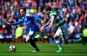 GLASGOW, SCOTLAND - APRIL 17:   Barrie McKay of Rangers holds off pressure from  Stefan Johansen of Celtic during the William Hill Scottish Cup semi final between Rangers and Celtic at Hampden Park on April 17, 2016 in Glasgow, Scotland.  (Photo by Jeff J Mitchell/Getty Images)