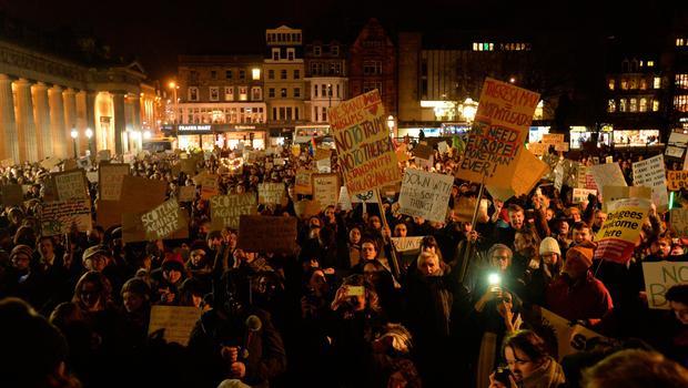 EDINBURGH, SCOTLAND - JANUARY 30:  Crowds listen to speakers at the Mound as demonstrators march to the Scottish Parliament to protest against President Trump's Muslim travel ban to the USA on January 30, 2017 in Edinburgh, Scotland. President Trump signed an executive order on Friday banning immigration to the USA from seven muslim countries. This led to protests across America and today, a British petition asking for the downgrading of Trump's State visit passed one million signatures this morning. (Photo by Mark Runnacles/Getty Images)