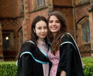 Celebrating graduation success at Queens University are Tanja Nowak from Poland and Ellie Rathkey from England, who both graduated with a degree in Law.