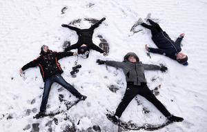 Pacemaker Press 08/12/2017 Children Ruben and Zara McGlinchey , Nathan McCann and Shea McLaughlin enjoying the snow   in Crumlin , as heavy snow falls across  Northern Ireland on Friday morning, leaving difficult driving conditions for motorists and some schools closed. Pic Colm Lenaghan/ Pacemaker