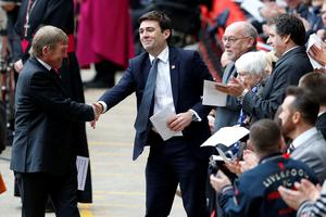 Shadow home secretary Andy Burnham shakes hands with former Liverpool player and manager Kenny Daglish before the last memorial service to be held at Anfield, Liverpool, to mark 27 years to the day since the tragedy claimed 96 lives. PRESS ASSOCIATION Photo. Picture date: Friday April 15, 2016. The 96 Liverpool fans died in the crush on the Leppings Lane terraces at Sheffield Wednesday's Hillsborough stadium after going to see their team play Nottingham Forest in an FA Cup semi-final on April 15, 1989. See PA story MEMORIAL Hillsborough. Photo credit should read: Peter Byrne/PA Wire
