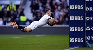 England's Danny Care dives in to score a try during the RBS 6 Nations match at Twickenham Stadium, London