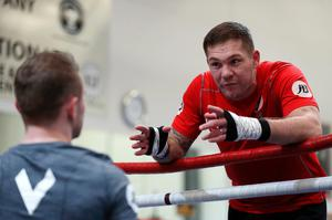 Listen up: Coach Jamie Moore gives his advice to Carl Frampton