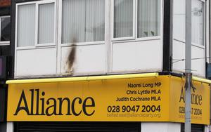 Petrol bomb attack on Alliance office on the Upper Newtownards Road in east Belfast. Pic Jonathan Porter