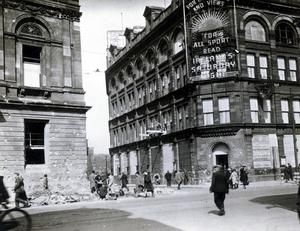 WORLD WAR II: BELFAST AIR RAIDS. BELFAST TELEGRAPH. April/May 1941. Belfast Telegraph offices boarded up and Central Library on Royal Avenue. AR 22