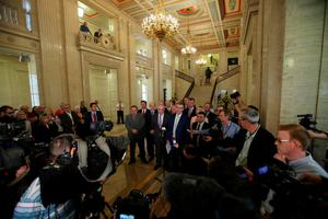 Ulster Unionist Party Leader Mike Nesbitt addresses the media at Parliament Buildings Stormont. Pic: Niall Carson/PA Wire