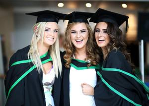 Graduating from Ulster University today is Shanice Heany from Lurgan, Sarah O'Callaghan from Belfast and Laura Fitzsimons from Belfast with a degree in BSC Communications & Advertising. Pic by Paul Moane / Aurora PA