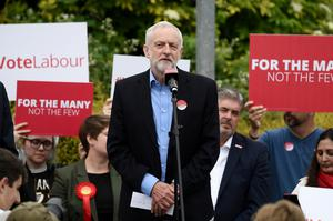 Labour leader Jeremy Corbyn gives a speech in Reading yesterday