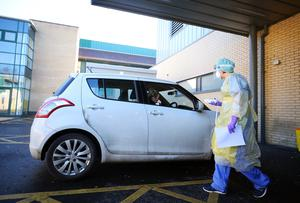 Am mock-up at Antrim Area Hospital Emergency Department demonstrating how members of the public can be assessed for Coronavirus by driving into the Ambulance Bay.  Picture by Jonathan Porter/PressEye