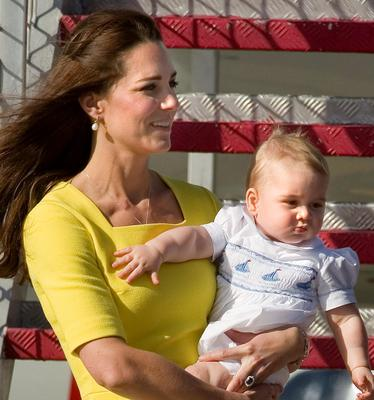 The Duke and Duchess of Cambridge and Prince George arrive at Sydney Kingsford Smith Airport on a Royal Australian Air Force aircraft during the tenth day of their official tour to New Zealand and Australia.