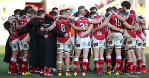 Talking it out: former captain Rory Best addresses huddled Ulster players after the latest defeat