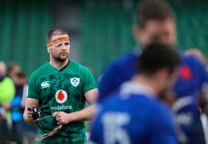 Ireland's Iain Henderson appears dejected after the Guinness Six Nations defeat to France at the Aviva Stadium (Brian Lawless/PA Wire)