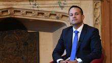 Taoiseach  Leo Varadkar is welcomed at Queen's University, Belfast,  during his first official visit to Northern Ireland.  In the afternoon, he will hold meetings with political parties. Pic Colm Lenaghan/Pacemaker