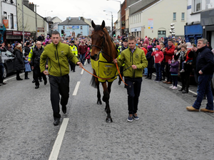 Centre of attention: Rule The Word is given a grand reception in Mullingar yesterday afternoon