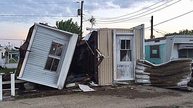 Damaged trailers after a tornado in the Northridge suburb of Dayton, Ohio (Marshall Gorby/WHIO-TV via AP)
