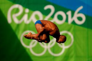 RIO DE JANEIRO, BRAZIL - AUGUST 19:  Victor Hugo Ortega Serna of Colombia during the Diving Men's 10m Platform Preliminary on Day 14 of the Rio 2016 Olympic Games at the Maria Lenk Aquatics Centre on August 19, 2016 in Rio de Janeiro, Brazil.  (Photo by Clive Rose/Getty Images)