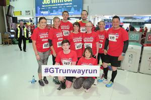 GRANT THORNTON RUNWAY RUN SCALES NEW HEIGHTS The team from Radius Housing get warmed up for last nightÕs Grant Thornton Runway Run at Belfast City Airport. The hugely-popular event attracted a record number of runners as 600 local businessmen and women took part in the 5k run on the tarmac of the airport. Teams of four from organisations across a wide range of sectors came together for the third year of the leading business advisory firmÕs event. Ê