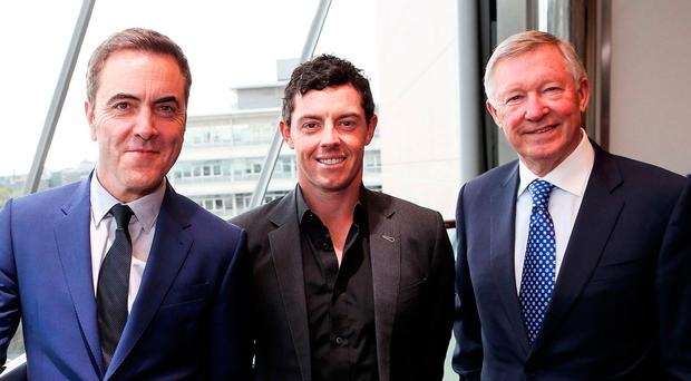 Good connections: Sir Alex Ferguson with famous Northern Ireland born Man United fans James Nesbitt and Rory McIlroy