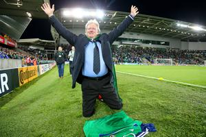 Picture - Kevin Scott / Press Eye  Charlie Lawson  Belfast - Northern Ireland - 8th October 2016 - The National Football Stadium at Windsor Park Opening Game and Ceremony Northern Ireland vs San Marino 2018 FIFA World Cup Qualifier  Photo by Kevin Scott  / Press Eye