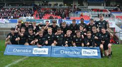 5/3/19: Campbell College players celebrate after beating Royal School Armagh in the School's Cup Semi Final. Picture: Robbie Cooper