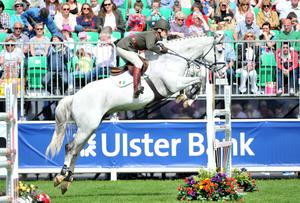 NO FEE  Press Eye - Belfast - Northern Ireland 15th May Second day of the Balmoral Show in partnership with Ulster Bank at Balmoral Park.  Rydale Clothing International Spectacular . Cpt Brian Curran Cournane  IRL riding Starboard Picture by Stephen Hamilton / Press Eye.