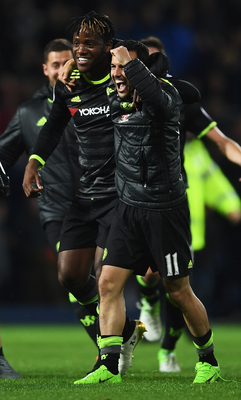 Top men: Michy Batshuayi with Pedro after title win