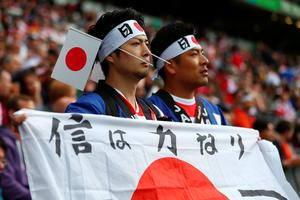 MILTON KEYNES, ENGLAND - OCTOBER 03:  Japan fans arrive at the stadium prior to the 2015 Rugby World Cup Pool B match between Samoa and Japan at Stadium mk on October 3, 2015 in Milton Keynes, United Kingdom.  (Photo by Michael Steele/Getty Images)