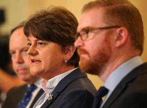 DUP leader Arlene Foster and party colleagues in the Great Hall at Parliament Buildings, Stormont.   Picture by Jonathan Porter/PressEye.com
