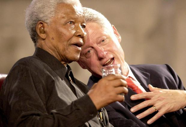 File photo dated 02/07/03 of former US President Bill Clinton and former South African President Nelson Mandela, during a gala night to mark the centenary of the Rhodes Trust and the establishment of the Mandela Rhodes Foundation, at Westminster. Former South African leader Nelson Mandela has died at the age of 95, the country's president, Jacob Zuma, said tonight. PRESS ASSOCIATION Photo. Issue date: Thursday December 5, 2013. See PA story DEATH Mandela. Photo credit should read Chris Young/PA Wire