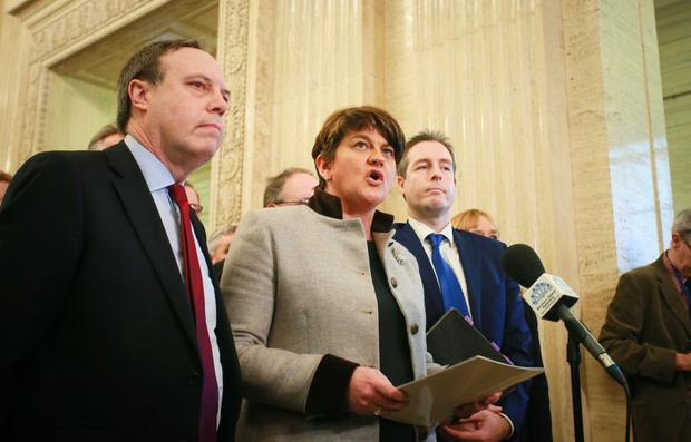 Arlene Foster and the DUP Party in the Great Hall of Stormont on 16th January 2017 (Photo - Kevin Scott  / Belfast Telegraph)