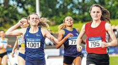Katie Kirk (left) celebrates her silver medal as Ciara Mageean triumphs in the women's 800m at the National Senior Championships in Santry last month. Photo: Keith McClure