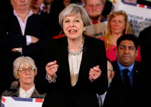 Theresa May delivers a rallying call to Conservative Party members at the launch of their election campaign in Bolton after getting the poll passed in the Commons earlier in the day