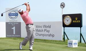 KAVARNA, BULGARIA - MAY 19:  Graeme McDowell of Northern Ireland tees off on the first hole during the final of the Volvo World Match Play Championship at Thracian Cliffs Golf & Beach Resort on May 19, 2013 in Kavarna, Bulgaria.  (Photo by Ross Kinnaird/Getty Images)
