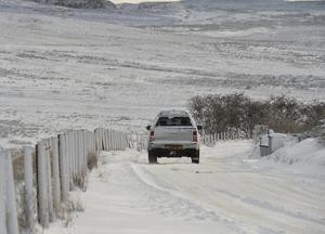 Pacemaker Press 08/12/2017 Battling threw the snow  on Divis Mountain in Co Antrim  , as heavy snow falls across  Northern Ireland on Friday morning, leaving difficult driving conditions for motorists and some schools closed. Pic Colm Lenaghan/ Pacemaker