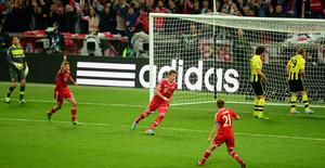 Bayern Munich's Mario Mandzukic celebrates scoring his side's first goal of the game during the UEFA Champions League Final at Wembley Stadium, London. PRESS ASSOCIATION Photo. Picture date: Saturday May 25, 2013.